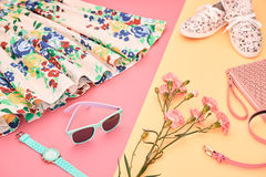 Fashion Summer Hipster Outfit, Accessories. Urban. Fashion Summer girl clothes Set, Accessories. Hipster Outfit. Stylish Floral Dress,Trendy fashion Sunglasses Stock Photography