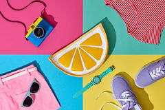 Fashion Summer Hipster Set. Film Camera.Design Art Royalty Free Stock Images