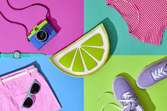 Fashion Summer Hipster Set. Film Camera.Design Art Royalty Free Stock Photos