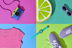 Fashion Summer Hipster Set. Film Camera.Design Art Stock Image