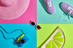 Fashion Summer Hipster Set. Film Camera.Design Art Royalty Free Stock Image