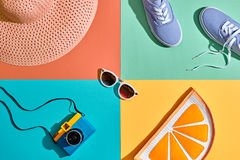 Fashion Summer Hipster Set. Film Camera.Design Art Stock Photography