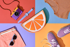 Fashion Summer Hipster Set. Film Camera.Design Art Stock Images