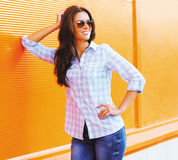Fashion summer portrait pretty happy woman in sunglasses Royalty Free Stock Photo