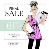 Fashion summer sale banner with teen fashion girl, online shopping social media ads web template with beautiful teenager girl. Vec Royalty Free Stock Photos
