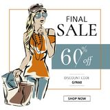 Fashion summer sale banner with woman fashion silhouette, online shopping social media ads web template with beautiful girl. Vecto vector illustration