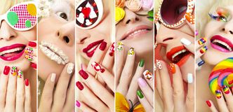 Fashion summer spring collection. Fashion summer spring collection of makeup and nail Polish on the girl accessories and design on nails Royalty Free Stock Photo