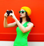Fashion, summer, technology and people concept - pretty girl Stock Photos