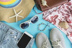 Fashion summer women clothes set with accessories Royalty Free Stock Image