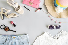 Fashion summer women clothes set with cosmetics and accessories Stock Photography