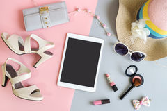 Fashion summer women clothes set with tablet Stock Photos