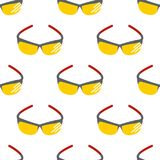 Fashion sunglasses accessory sun spectacles seamless pattern background plastic frame modern eyeglasses vector Stock Photos