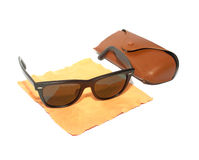 Fashion Sunglasses with glasses cleaning cloth and leather case. Stock Images
