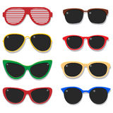 Fashion sunglasses vector set. Illustration of eyeglasses colorful plastic frame isolated objects on white background. Colorful set of modern sunglasses. Vector Stock Photography