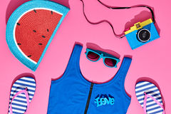 Fashion Sunny Summer Beach Set. Hot Beach Vibes Royalty Free Stock Photo