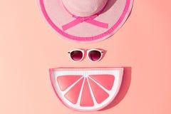 Fashion Sunny Summer Set. Hot Beach Vibes. Minimal Stock Photo