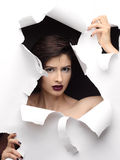Fashion Surprised Model Girl Portrait with dark eyes. Royalty Free Stock Photography
