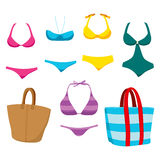Fashion Swim Wear And Accessories. Collection of fashionable summer swim wear clothing elements and accessories for women Stock Photography