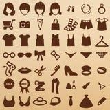 Fashion symbols. Girl icons clothing Royalty Free Stock Image