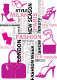 Fashion words. Fashion tag or word cloud Stock Images