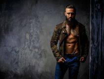 Fashion tattooed man with beard. Fashion tattooed man with beard in blue jeans and jacket on nude body stock images