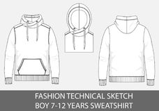 Free Fashion Technical Sketch Boy 7-12 Years Sweatshirt With Hood Royalty Free Stock Photos - 115480608