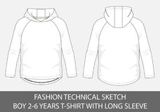 Fashion technical sketch for boy 2-6 years hoody t-shirt with long sleeve. In vector graphic Royalty Free Stock Photography