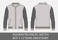 Fashion technical sketch for boy 7-12 years sweatshirt. In vector graphic Stock Photos