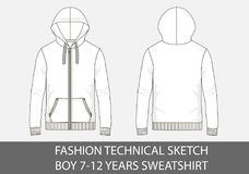 Fashion technical sketch for boy 7-12 years sweatshirt with hood. In vector graphic Royalty Free Stock Photos