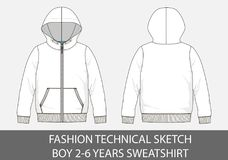 Fashion technical sketch for boy 2-6 years sweatshirt with hood. In vector graphic Royalty Free Stock Image