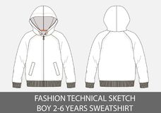 Fashion technical sketch for boy 2-6 years sweatshirt with hood. In vector graphic Stock Photos