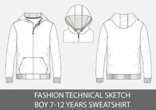 Fashion technical sketch for boy 7-12 years sweatshirt with hood. In vector graphic Royalty Free Stock Photography