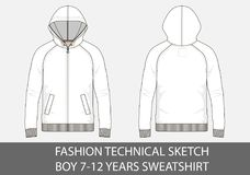 Fashion technical sketch for boy 7-12 years sweatshirt with hood. In vector graphic Royalty Free Stock Image