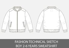 Fashion technical sketch for boy 2-6 years sweatshirt. In vector graphic Royalty Free Stock Photography