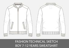 Fashion technical sketch for boy 7-12 years sweatshirt. In vector graphic Stock Photo