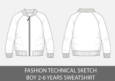 Fashion technical sketch for boy 2-6 years sweatshirt. In vector graphic Royalty Free Stock Images