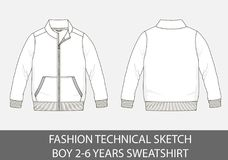 Fashion technical sketch for boy 2-6 years sweatshirt. In vector graphic Stock Photo