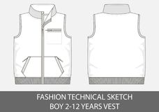 Fashion technical sketch for boy 2-12 years vest. In vector graphic Royalty Free Stock Photo