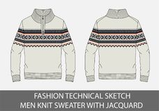 Fashion technical sketch men knit sweater with jacquard. In vector graphic Royalty Free Stock Photo