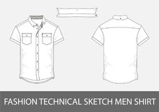 Fashion technical sketch men shirt with short sleeves in vector. Royalty Free Stock Image