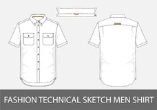 Fashion technical sketch men shirt with short sleeves in vector Stock Image
