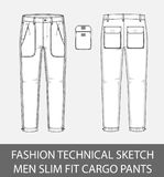 Fashion technical sketch men slim fit cargo pants with 2 patch pockets. In vector graphic Royalty Free Stock Photography