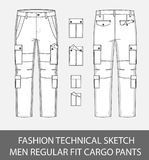 Fashion technical sketch men slim fit cargo pants with 4 patch pockets. In vector graphic Royalty Free Stock Images