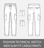 Fashion technical sketch men slim fit cargo pants with 2 patch pockets. In vector graphic Royalty Free Stock Images