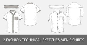 Set of Fashion technical sketches men`s shirts with short sleeves in vector. 2 Fashion technical sketches men`s shirt with shorts sleeves and patch pockets in royalty free illustration