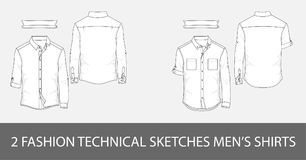 Fashion technical sketches men`s shirts with long sleeves  Stock Photos