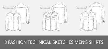 3 Fashion technical sketches men`s shirts in vector Stock Images