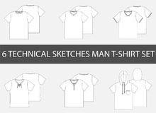 6 Fashion technical sketches of men`s T-Shirt. In drawing vector stock illustration