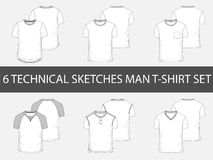 6 Fashion technical sketches of men`s T-Shirt Stock Image