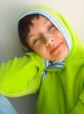 Fashion teen. The girl in a hood Royalty Free Stock Image